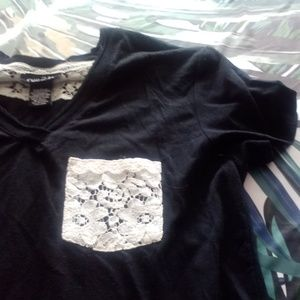 Tops - Lace Pocket Black T Small